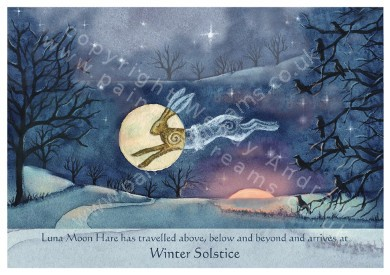 Luna moon hare at winter solstice greetings card painting dreams luna moon hare at winter solstice greetings card m4hsunfo