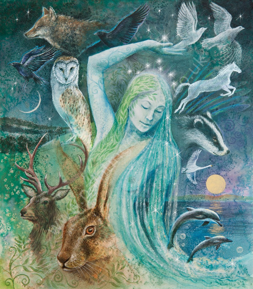 sacred creatures of the goddess greetings card painting dreams