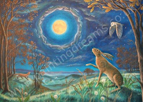 Hare Moon Halo Painting Dreams